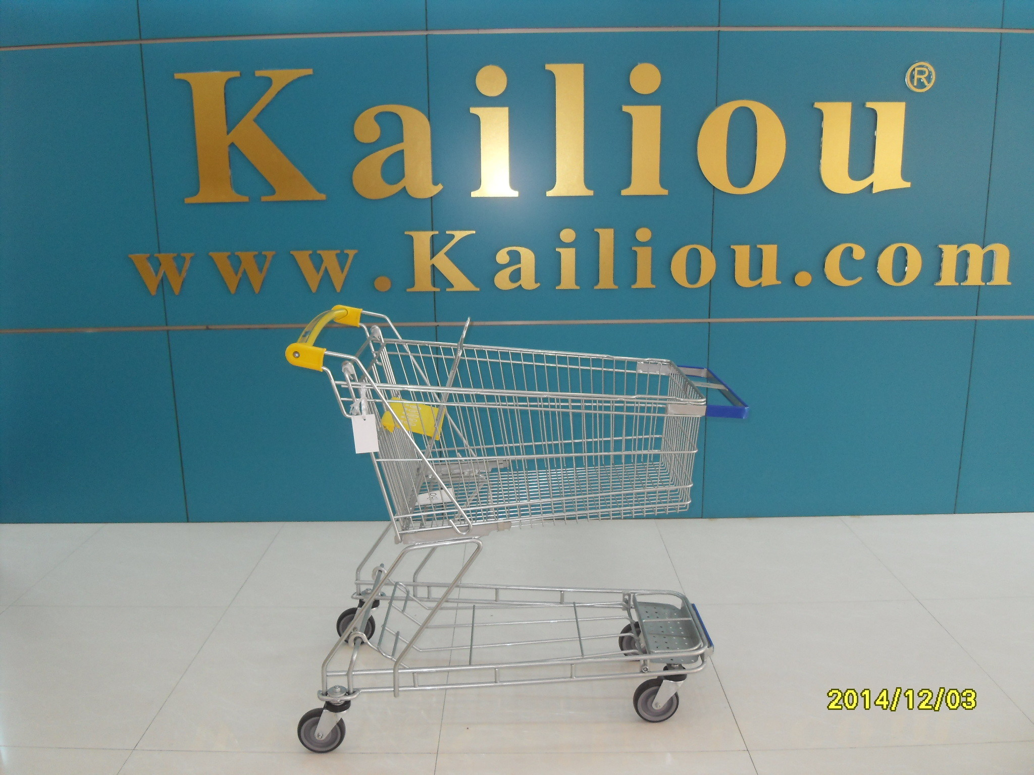 130L Supermarket store Metal Shopping Cart With Curve Handle and swivel flat casters