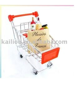 Small Supermarket Shopping Trolley with advertisement board in red and metal base in chrome
