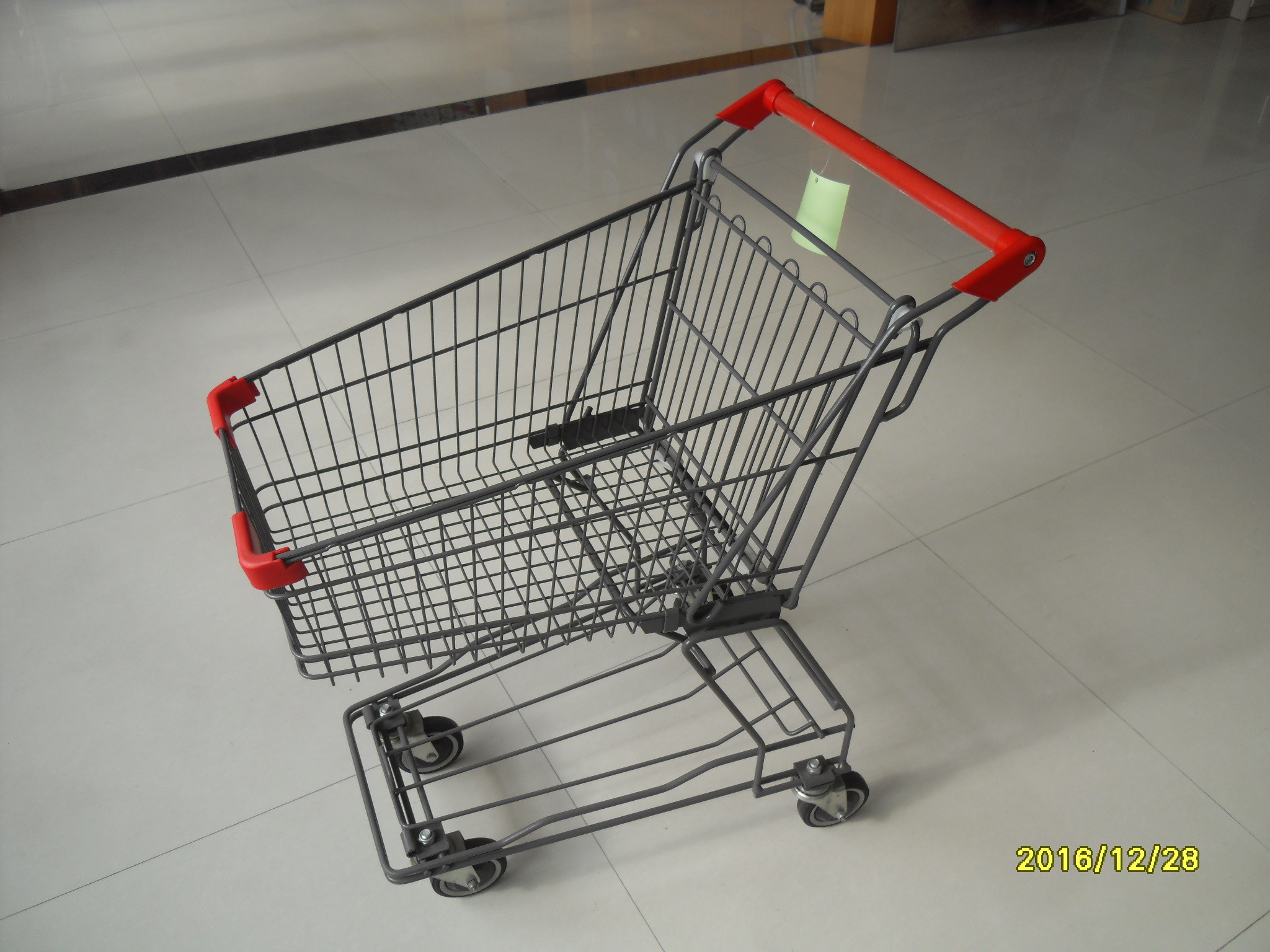 4x4 Inch Wire Shopping Trolley With Customized Logo On Handle , Coin Lock