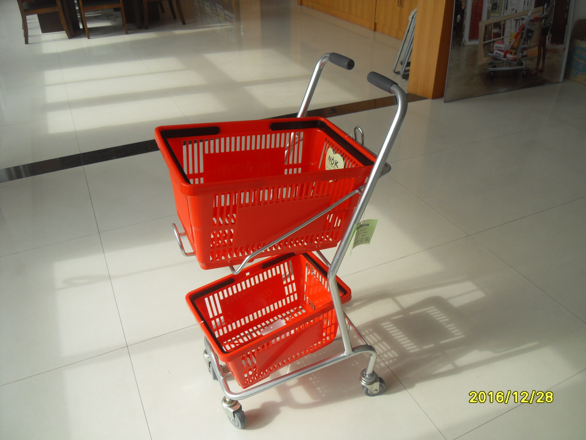 Small Shop Use Shopping Basket Trolley With 4 Swivel 3 Inch PVC Casters