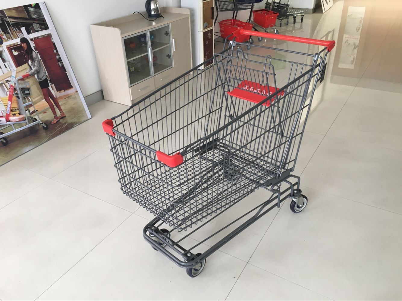 Wire Shopping Trolley E - Coating With 4 swivel TPR casters for Adult use 210L