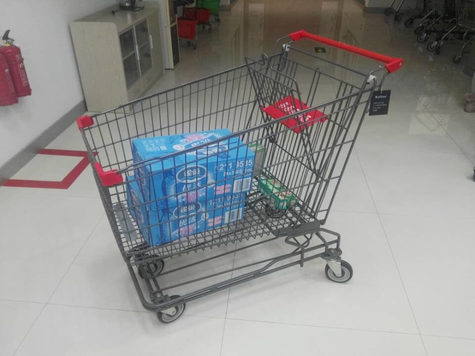 Grey Powder Coating 210L Asian Type Wire Shopping Trolley Wiht 4 Swivel 5 Inch Casters