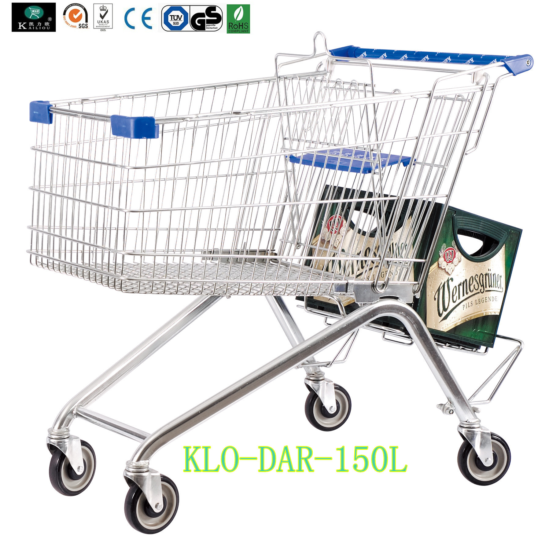 Low Carbon Steel Metal Shopping Cart With Wheels / Supermarket Shopping Trolleys