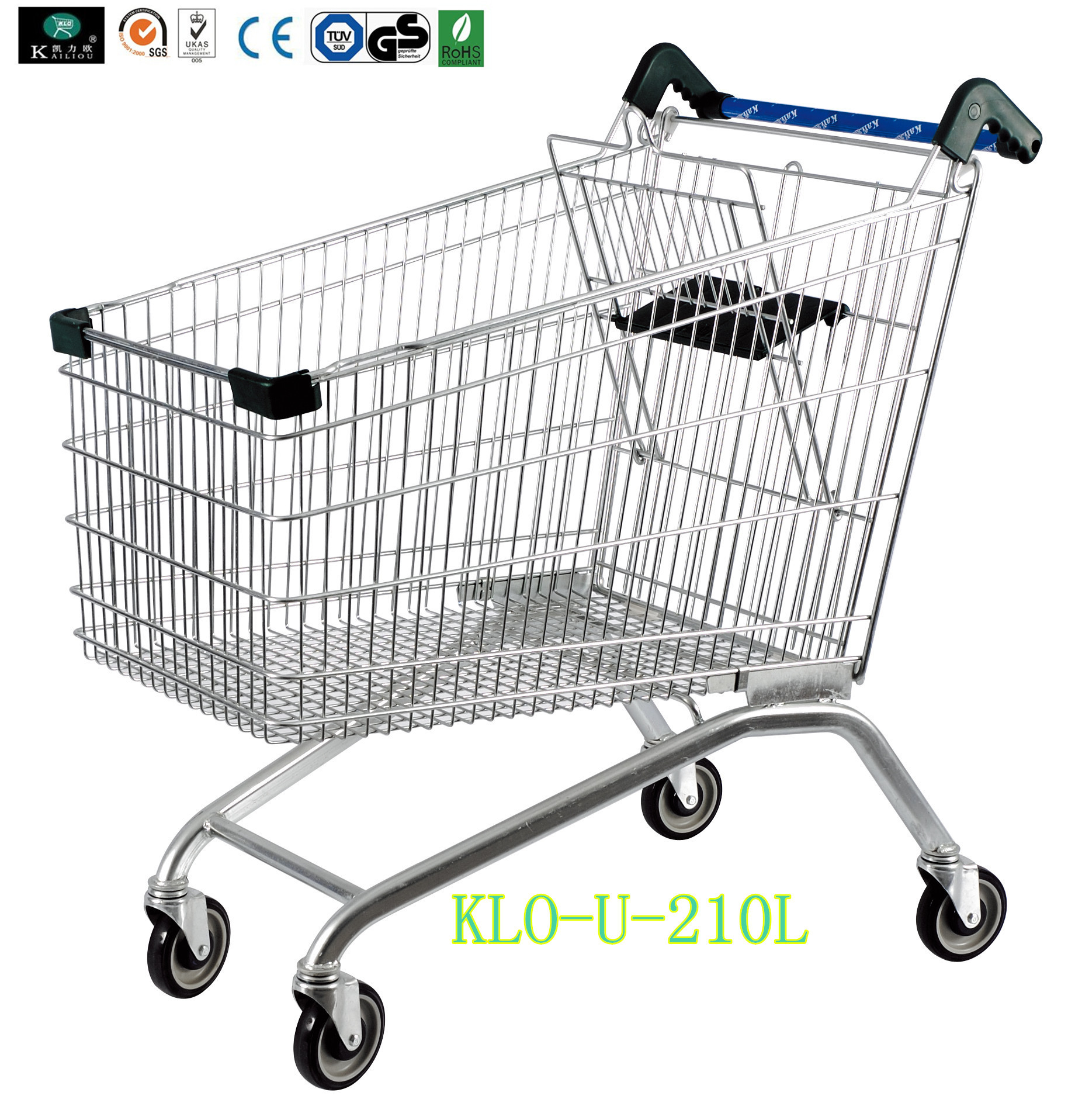 European Style Disabled Supermarket Shopping Trolley Cart With Baby Seat