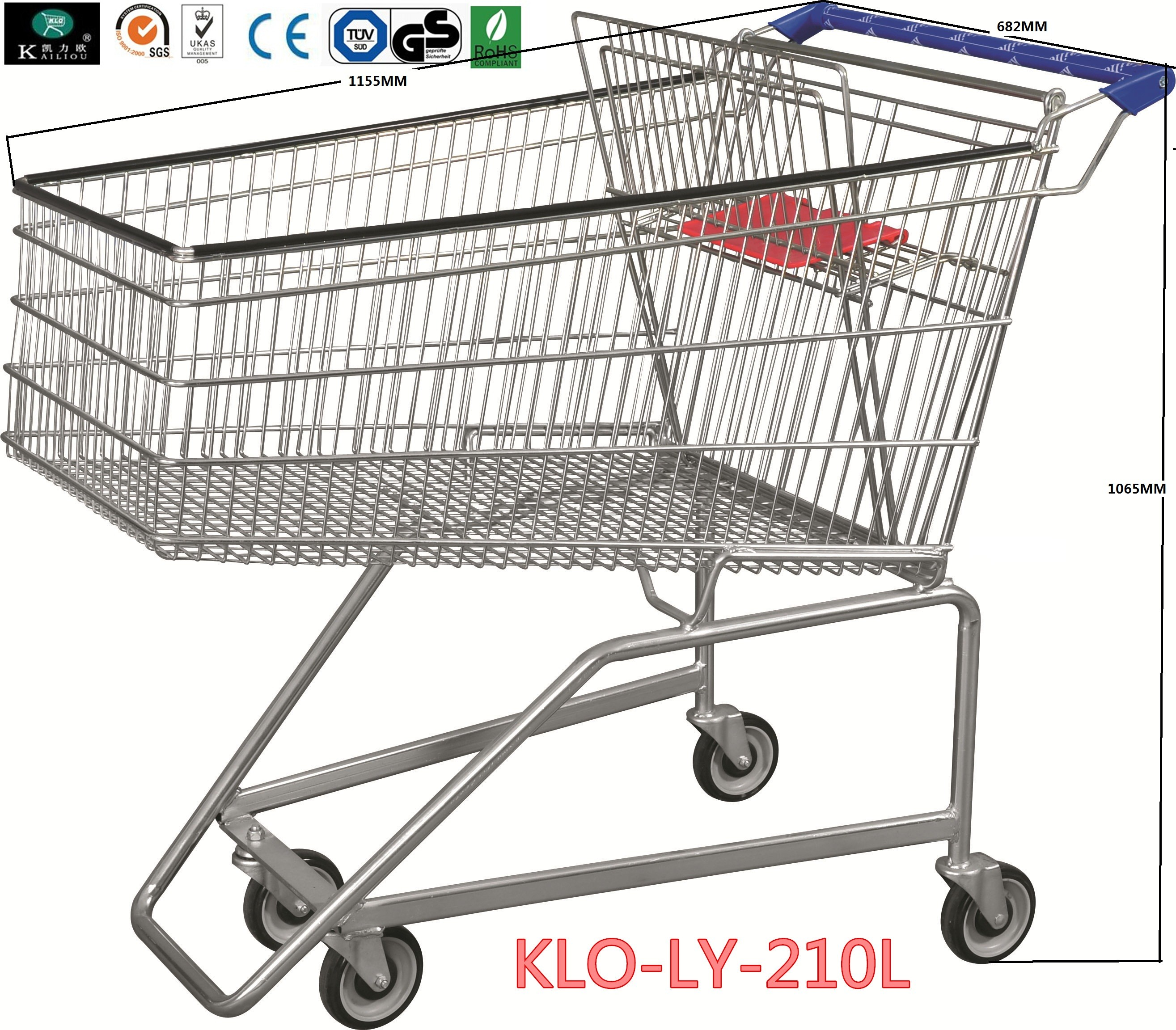 Flat Basket Wire Mesh Metal Shopping Carts With PVC , PU , TPR Wheels